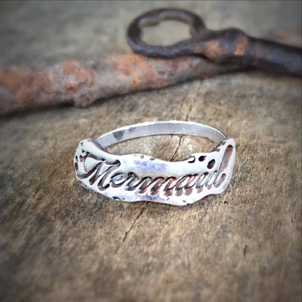 Mermaid Silver Ring, Sterling Siren, Beach Ocean Jewelry