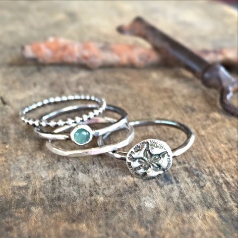 Stacking Ring Set, Beach Beauty Rings, Gemstone, Sand Dollar, and Silver Bands
