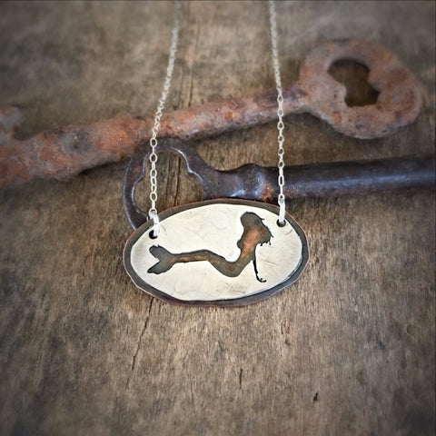 Mermaid Silhouette Necklace - Mixed Metal in Sterling Silver and Copper, Handmade Siren Pendant