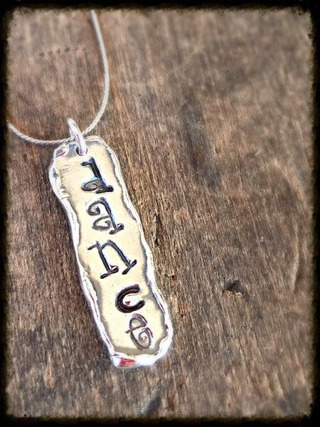 Personalized Word Necklace - Silver Tag Pendant in Word if Your Choice