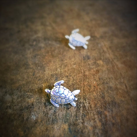 Tiny Sea Turtle Stud Earrings, Sterling Silver Ocean Jewelry