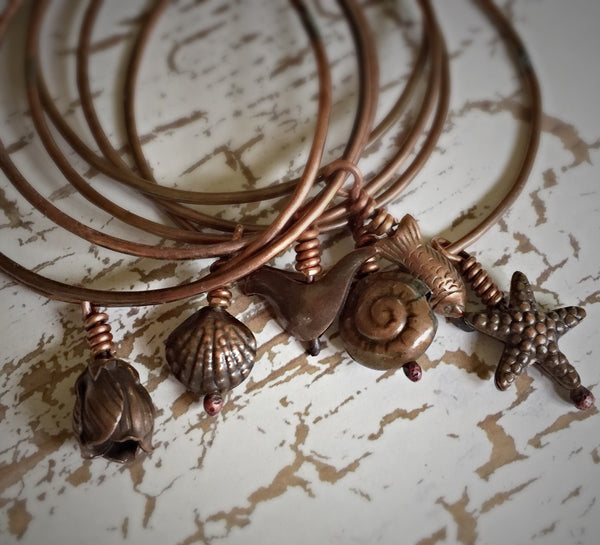 Copper Stacking Charm Bangle - Your choice of nature charm - Rustic Hammered Copper