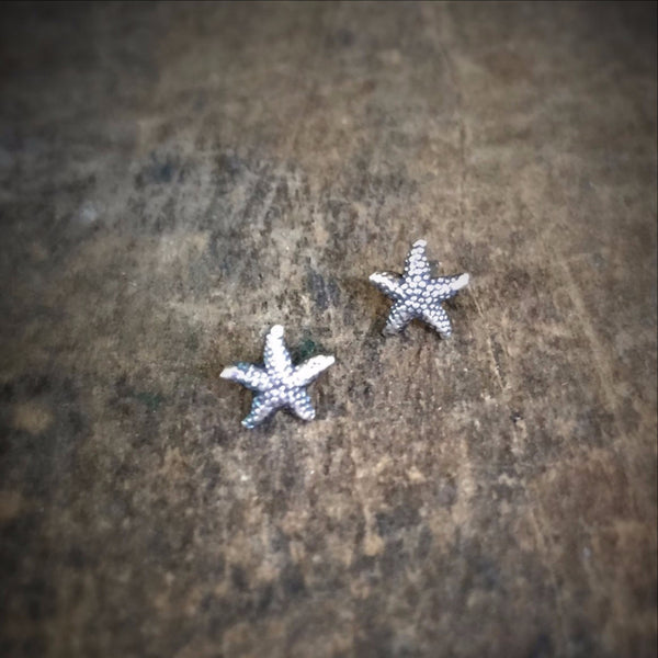 Tiny Starfish Stud Earrings, Sterling Silver Sea Stars