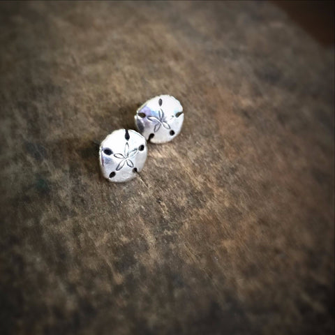 Tiny Sand Dollar Stud Earrings, Sterling Silver Ocean Jewelry