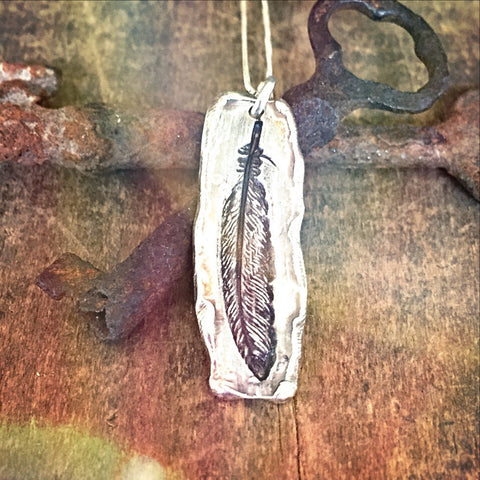 Feather Handmade Pendant in Pure Silver, Inspirational Necklace Wanderlust