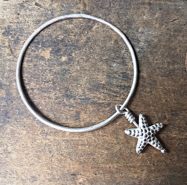 Sterling Silver Charm Bracelet, Hammered Solver Starfish Seastar Charm, Beach Ocean Jewelry, Stacking Sea Star