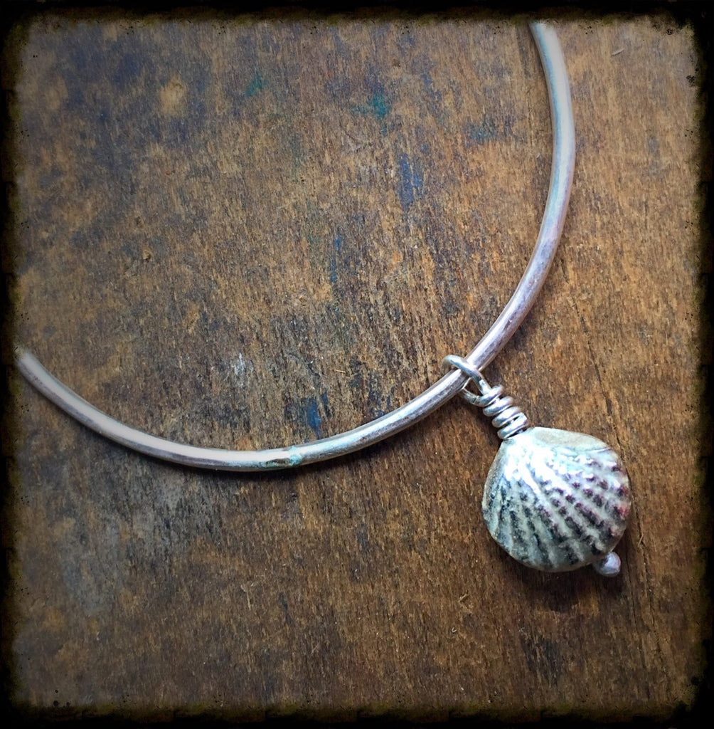 Stacking Silver Dangle Bracelet, Sterling Seashell Charm, Beach Ocean Jewelry, Hammered Bangle