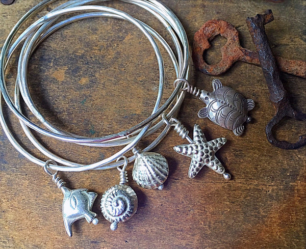 Hammered Silver Charm Bracelet, Sterling Bangle, Fish Charm, Beach Ocean Jewelry