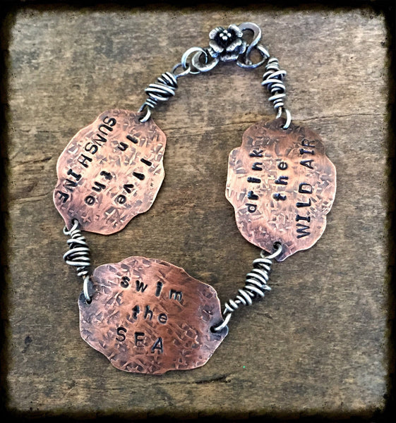 Live In The Sunshine Bracelet, Emerson Quote, Copper and Sterling Silver Jewelry