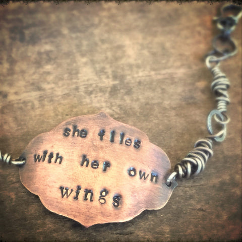 Gift Copper Bracelet, She Flies With Her Own Wings Quote, Copper Bracelet
