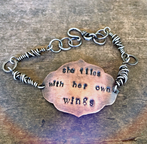 Gift Copper Bracelet, She Flies With Her Own Wings Quote, Hand Stamped, Sterling Bracelet, Mixed Metal Jewelry