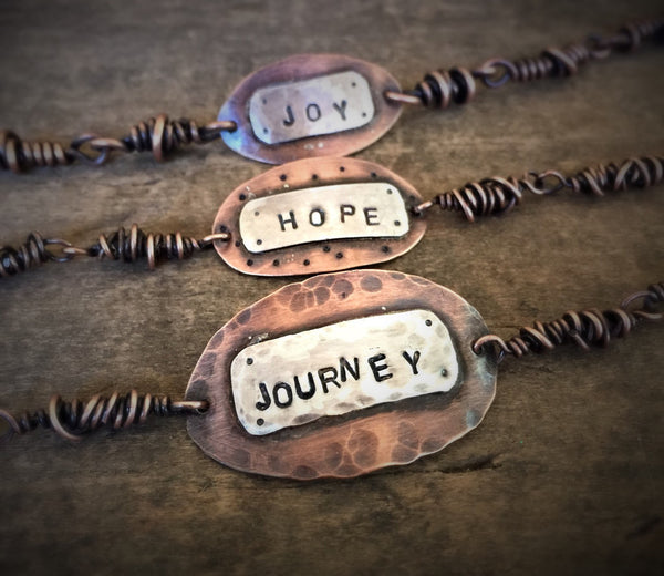 Hope Hand Stamped Copper and Sterling Rustic Bracelet, Mixed Metal Jewlery