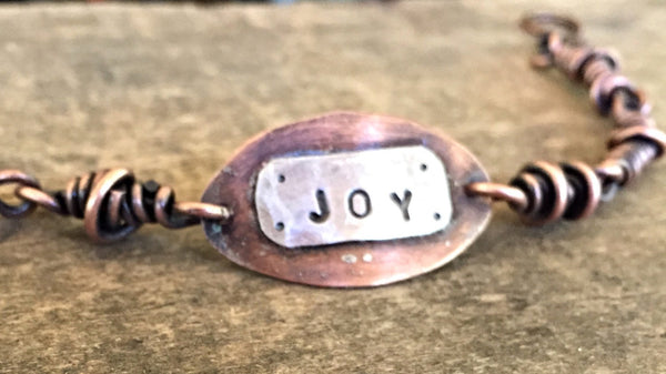 Joy Copper and Sterling Rustic Bracelet