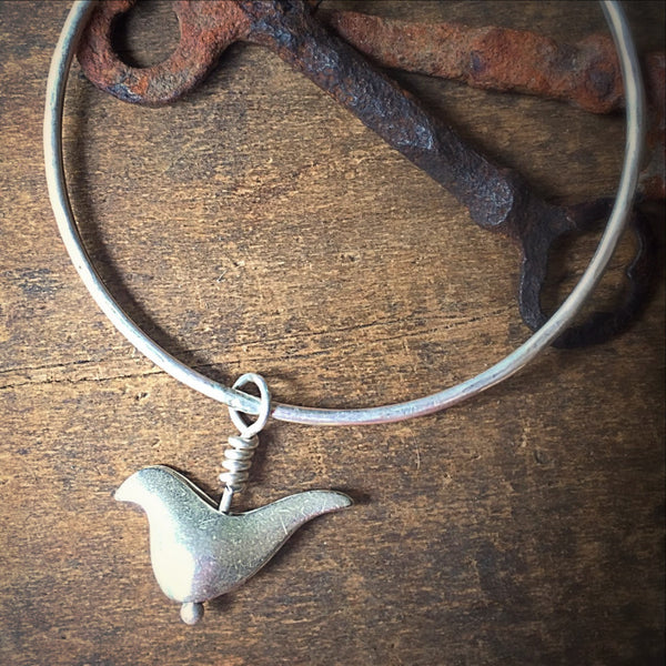 Silver Stacking Bracelet, Sterling Bird, Sparrow or Dove Charm Bangle