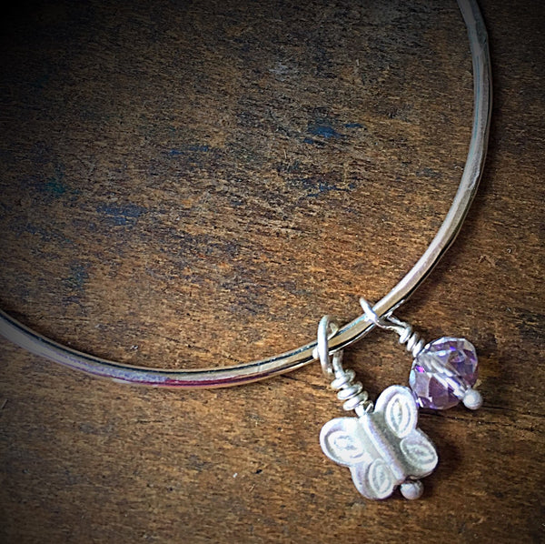 Silver Bangle, Butterfly and Crystal