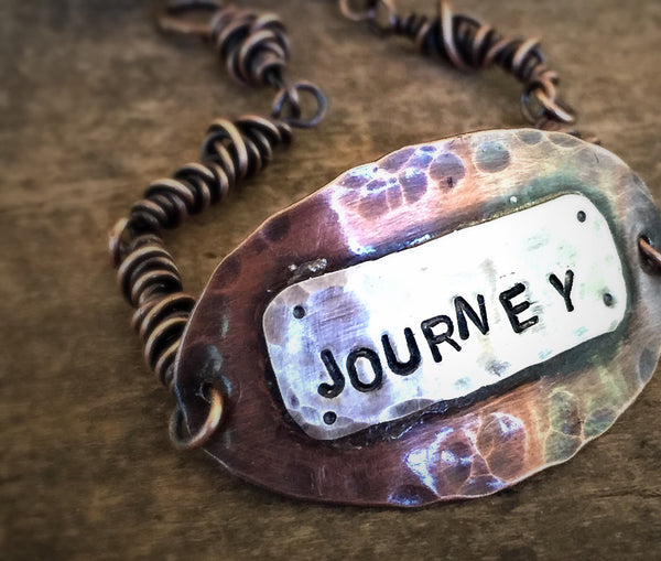Journey Copper and Silver Quote Bracelet, Mixed Metal Jewlery