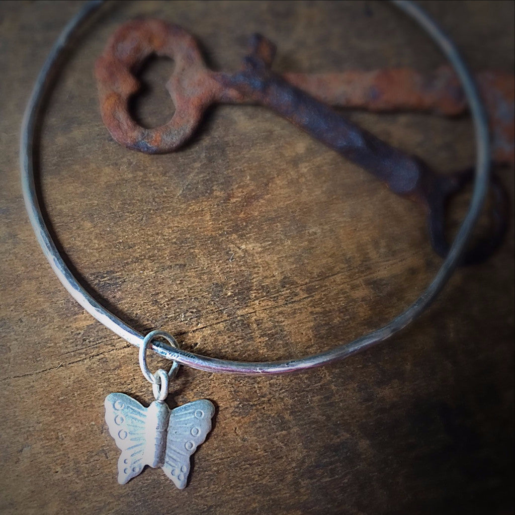 Silver Butterfly Stacking Bangle, Sterling Silver Charm Bracelet