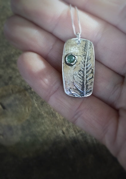 Real Fern Leaf Necklace with Gemstone Pendant, Green Aventurine Stone