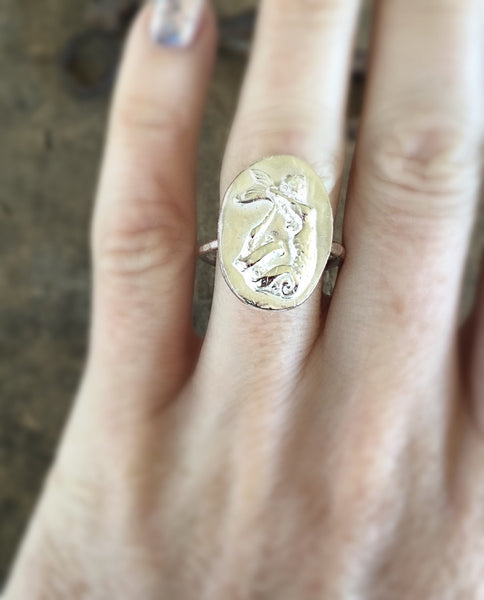Mermaid Silver Ring, Sexy Sterling Siren, Pin Up Rockabilly, Beach Ocean Jewelry