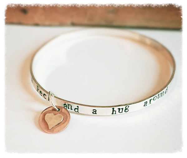 I Love You a Bushel and a Peck Gift, Sterling Silver Stacking Bracelet, Heart Charm, Mixed Metal