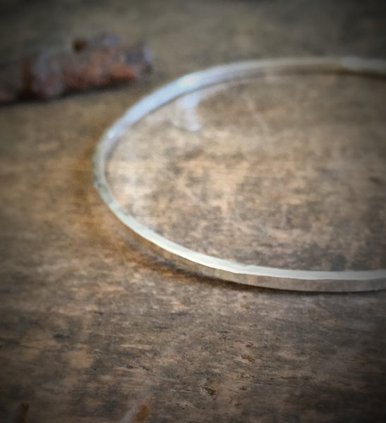 Thin Hammered Bangle Bracelet, Square Sterling Silver, Stacking Bracelet