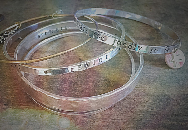 Personalized Silver Bracelet, Thick Hand Stamped Bangle, Sterling Silver Stacking Jewlery, Customized Kids Names