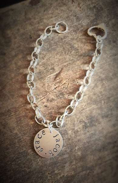 Personalized Name Charm Bracelet, Sterling Silver, Heart Jewelry, Mother Jewelry, Sweetheart Gift