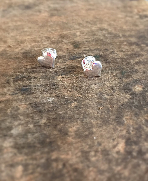 Silver Heart Stud Earrings, Sterling Hearts, Ready to Ship, Valentine Jewelry