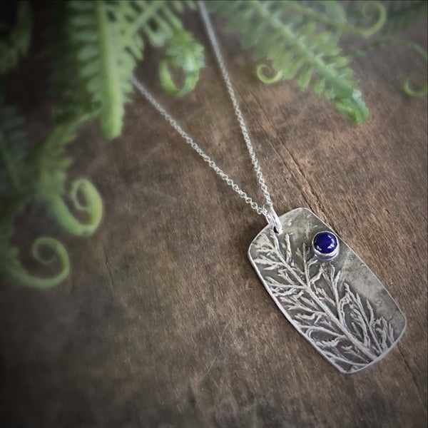 Real Silver Leaf Necklace with Gemstone Pendant, Blue Lapis Stone