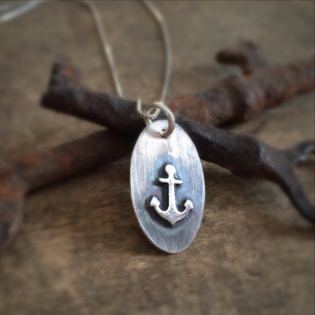 Raised Anchor Necklace, Sterling Silver
