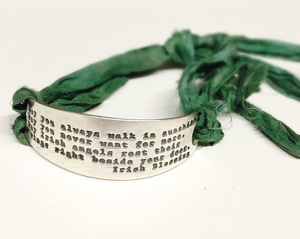 Irish Blessing Bracelet in Silver with Green Silk Ribbon, Celtic Jewelry, Prayer Blessing for St. Patrick's Day
