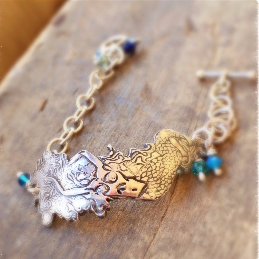 Sexy Mermaid Bracelet, Sterling Silver Ocean Jewelry