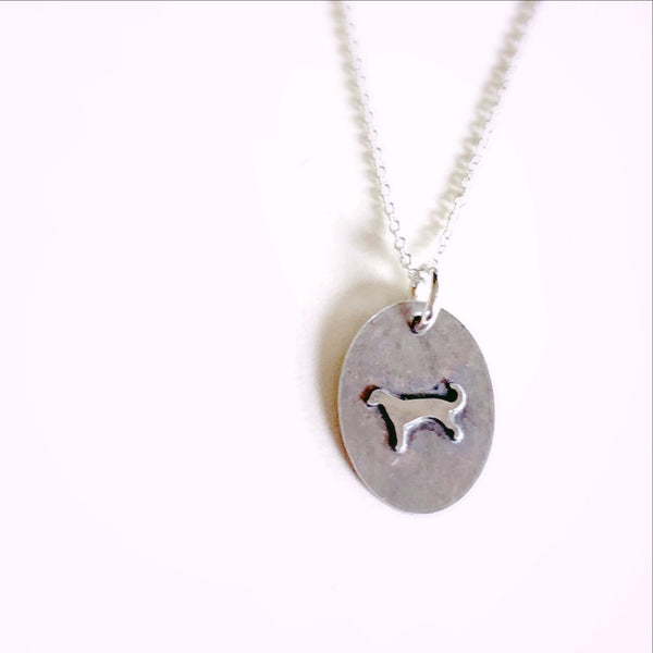 Sterling Silver Dog Necklace, Soldered Charm Necklace, Silhouette Jewelry