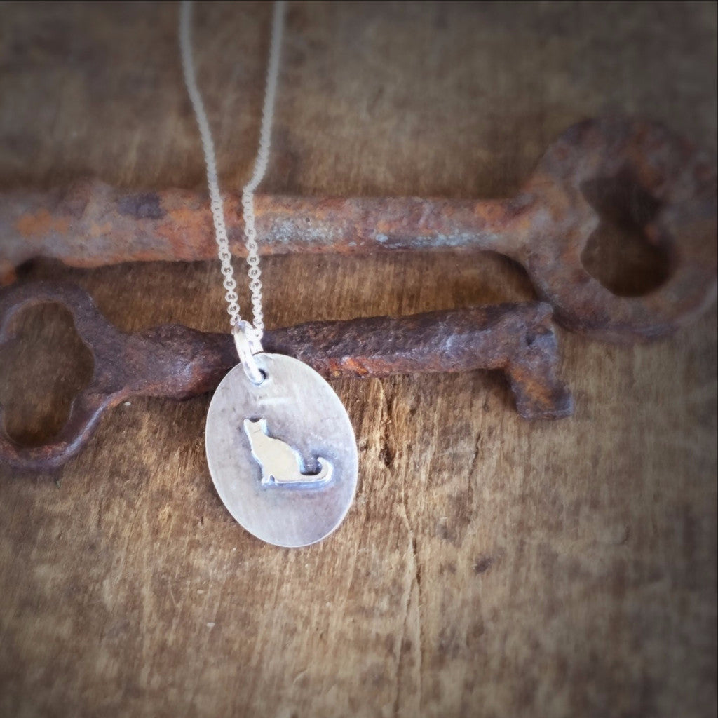 Silver Cat Charm Pendant, Soldered Silver Soldered Tiny Necklace, Silhouette Jewelry
