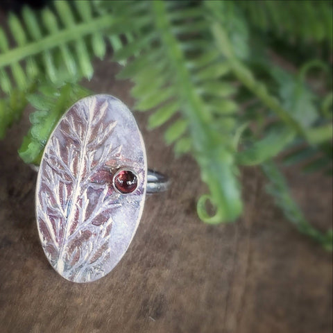 Real Leaf and Garnet Ring, Custom Made Jewelry, Deep Red Stone, Birthstone Jewelry