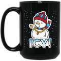 Wheel Spin Addict 15 oz Mug, Icy Snowman Christmas Black Mug