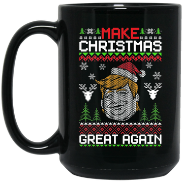 Wheel Spin Addict 15 oz Mug, Make Christmas Great Again Trump Black Mug