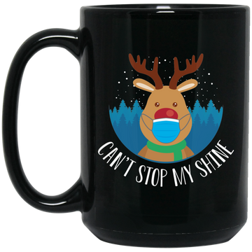 Wheel Spin Addict 15 oz Mug, Can't Stop My Shine Christmas Reindeer Black Mug