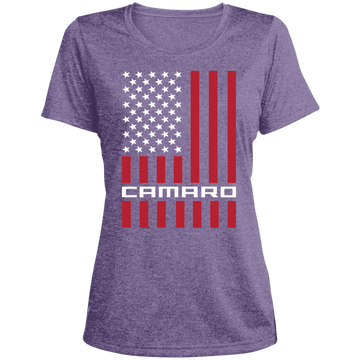 Camaro American Flag Ladies' Heather Dri-Fit Moisture-Wicking T-Shirt
