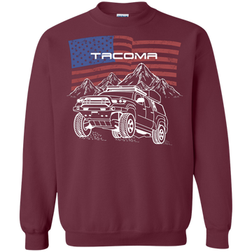 Toyota Tacoma Off-Road Overland American Flag Crewneck Pullover Sweatshirt