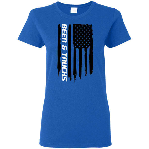 Beer & Trucks 'Merica American Flag Ladies' T-Shirt