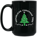 Wheel Spin Addict 15 oz Mug, Republican Christmas Tree God Guns Religion Black Mug