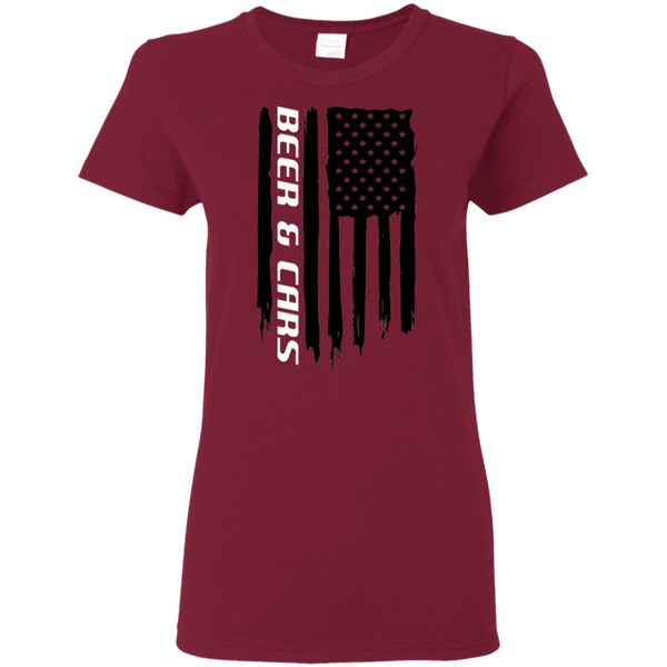 Beer & Cars 'Merica American Flag Ladies' T-Shirt