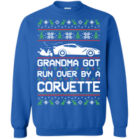 Chevy Corvette C7 Ugly Christmas Grandma Got Run Over by a Corvette Pullover Sweatshirt