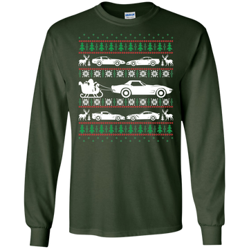 Ugly Christmas Chevy Corvette Cotton T-Shirt Long Sleeve C3 C4 C5 C6 C7