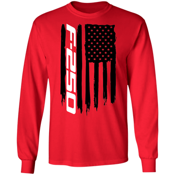 WSA F-250 F250 Power Stroke Super Duty American Flag Long Sleeve T-Shirt