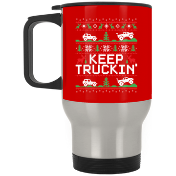 Wheel Spin Addict Keep Trucking Christmas Stainless Travel Mug