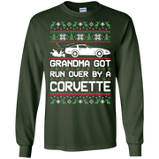 Chevy Corvette C4 Ugly Christmas Grandma Got Run Over by a Corvette T Shirt Long Sleeve