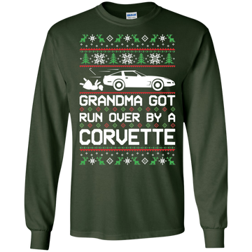 Chevy Corvette C4 Ugly Christmas Grandma Got Run Over by a Corvette T-Shirt Long Sleeve
