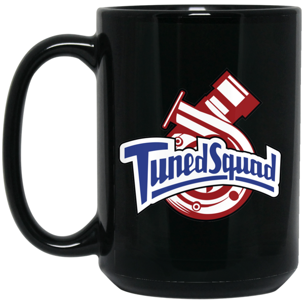 Wheel Spin Addict 15 oz Mug, Tuned Squad Turbo Boosted Black Mug